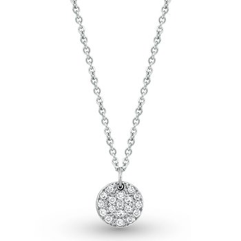 Diamond Small Disc Necklace in 14k White Gold with 18 Diamonds weighing .22ct tw.