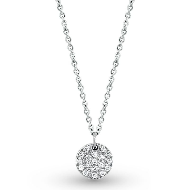 KC Designs Diamond Small Disc Necklace in 14k White Gold with 18 Diamonds weighing .22ct tw.