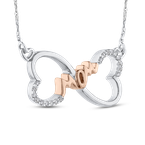 1/10 ct Round Diamond Heart Infinity MOM Pendant with Chain