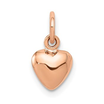 14K Rose Polished 3-D Puffed Heart Charm