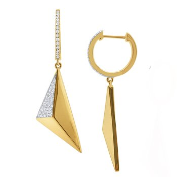 14k Gold and Diamond Geometric Pyramid Earrings