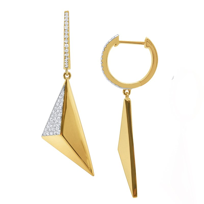 MAZZARESE Fashion 14k Gold and Diamond Geometric Pyramid Earrings