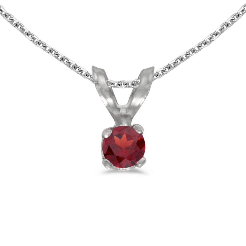 Color Merchants 14k White Gold Round Garnet Pendant