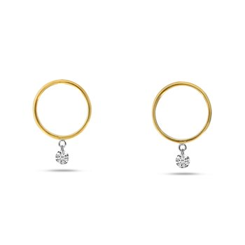 14K Yellow Gold Circle Hoop Diamond Earrings