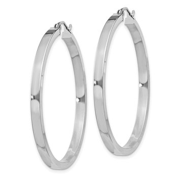 Sterling Silver Rhodium-plated 3x40mm Square Tube Hoop Earrings