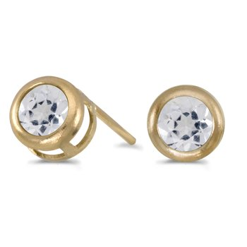 14k Yellow Gold Round White Topaz Bezel Stud Earrings