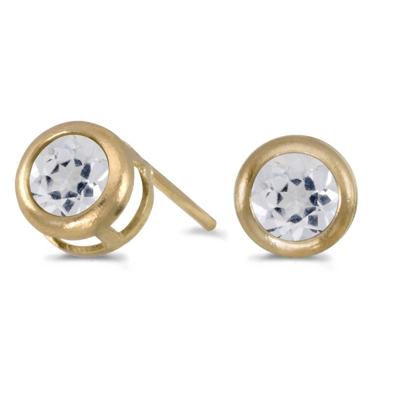 Color Merchants 14k Yellow Gold Round White Topaz Bezel Stud Earrings