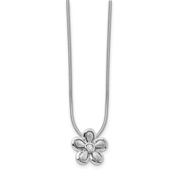 SS White Ice Satin & Polished .02ct Diamond Flower Necklace