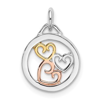 Sterling Silver Rhodium, Rose & Gold-tone Polished Hearts Pendant
