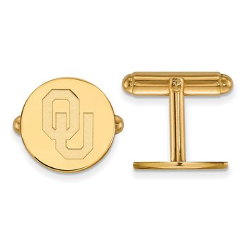 Gold-Plated Sterling Silver University of Oklahoma NCAA Cuff Links