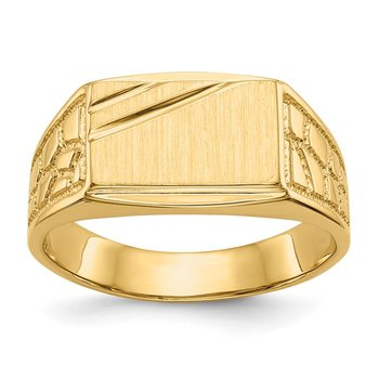 14k 8.5x13.0mm Open Back Men's Signet Ring