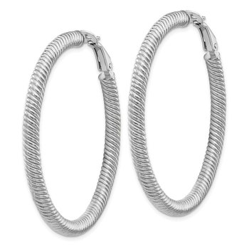14k 4x40mm White GoldTwisted Round Omega Back Hoop Earrings