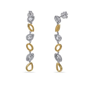 14K open shapes drop Earrings with 100 Diamonds 0.40C & 2 baguette 0.050C