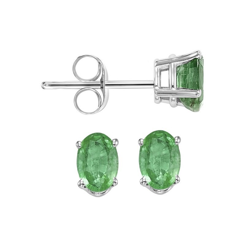 Gems One Oval Prong Set Emerald Studs in 14K White Gold