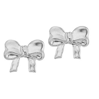 14K White Gold Baby Bow Screwback Earrings
