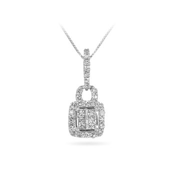 10WG Diamond Quad Pendant in Purse Design