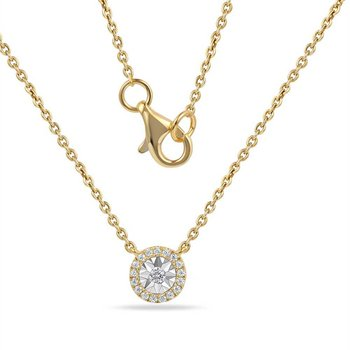 "14K round shape necklace with 18 Diamonds 0.11CT 18"" lenght"
