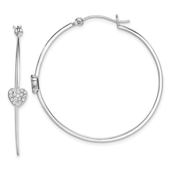Sterling Silver Rhodium-plated CZ Heart Hoop Earrings