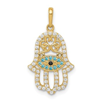 14K Multi-colored CZ Hamsa Pendant