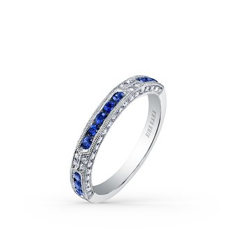 Deco Sapphire Milgrain Diamond Wedding Band