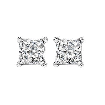 Princess Cut Diamond Studs in 14K White Gold (3/4 ct. tw.) I1/I2 - G/H