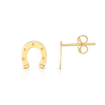 14K Gold Horseshoe Stud Earrings