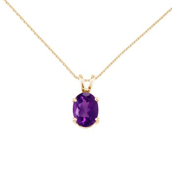 14k Yellow Gold Oval Amethyst Pendant