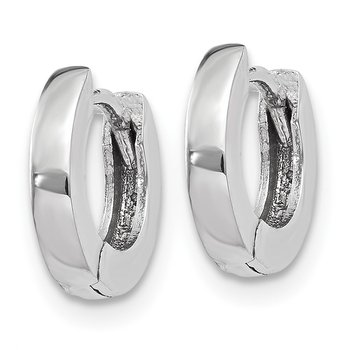 14k White Gold Polished Round Hinged Hoop Earrings