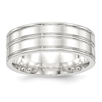 SS 8mm Polished Fancy Band Size 10