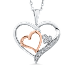 Essentials 10K White & Rose Gold .03 Ct Diamond Heart Pendant with Chain