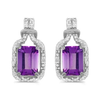 10k White Gold Emerald-cut Amethyst And Diamond Earrings