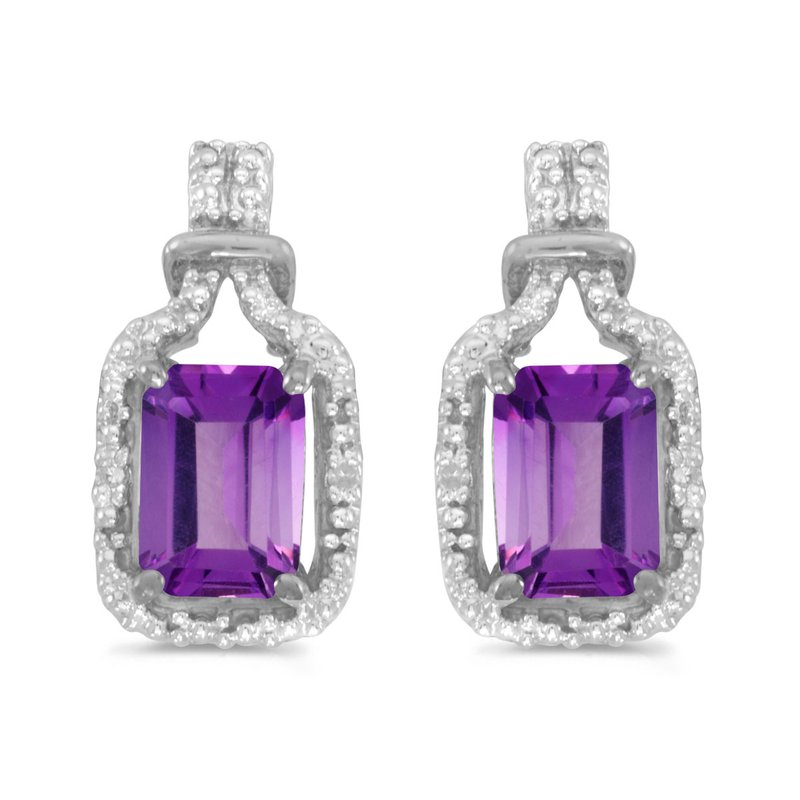 Color Merchants 10k White Gold Emerald-cut Amethyst And Diamond Earrings
