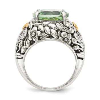 Sterling Silver w/14k Green Quartz Ring