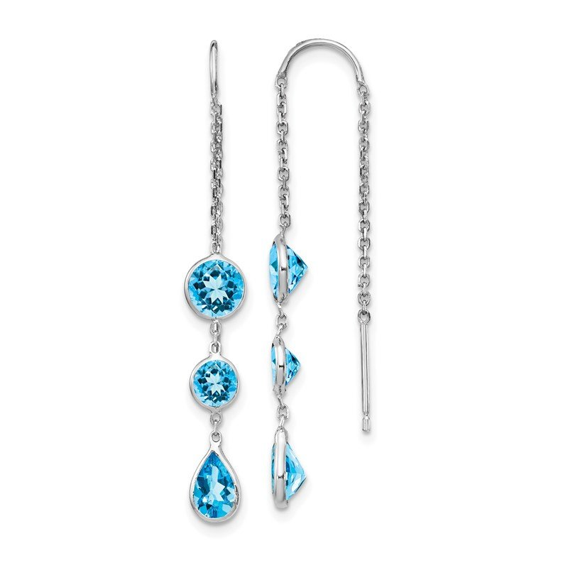 Quality Gold 14k White Gold Blue Topaz Dangle U Wire Earrings