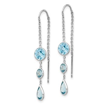 14k White Gold Blue Topaz Dangle U Wire Earrings