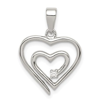 Sterling Silver Rhodium-plated Single CZ Fancy Heart Pendant
