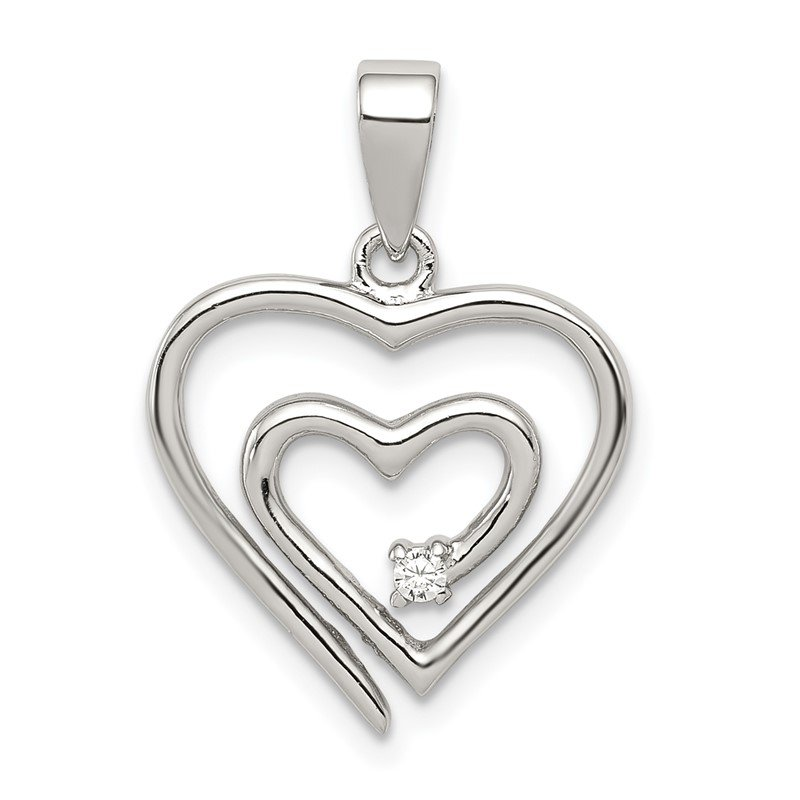 Lester Martin Online Collection Sterling Silver Rhodium-plated Single CZ Fancy Heart Pendant