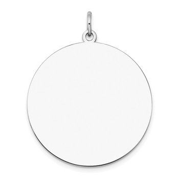 14k White Gold Plain .027 Gauge Round Engravable Disc Charm