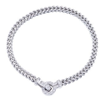 White Gold Braided Bracelet with Diamond Clasp
