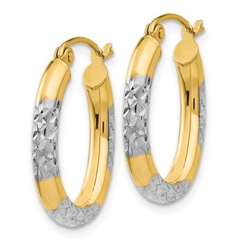 14K & Rhodium 3mm Diamond Cut Oval Hollow Hoop Earrings