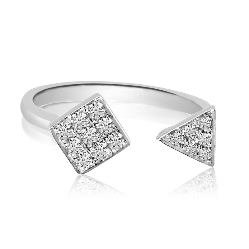 Color Merchants 14K White Gold Geometric Diamond Ring