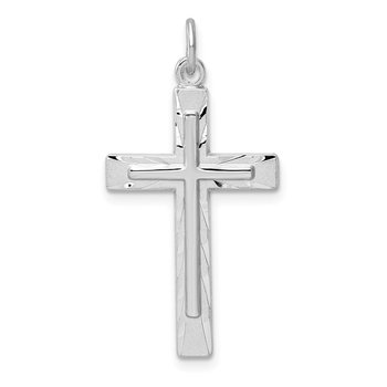Sterling Silver Rhodium-plated Diamond-Cut Cross Pendant