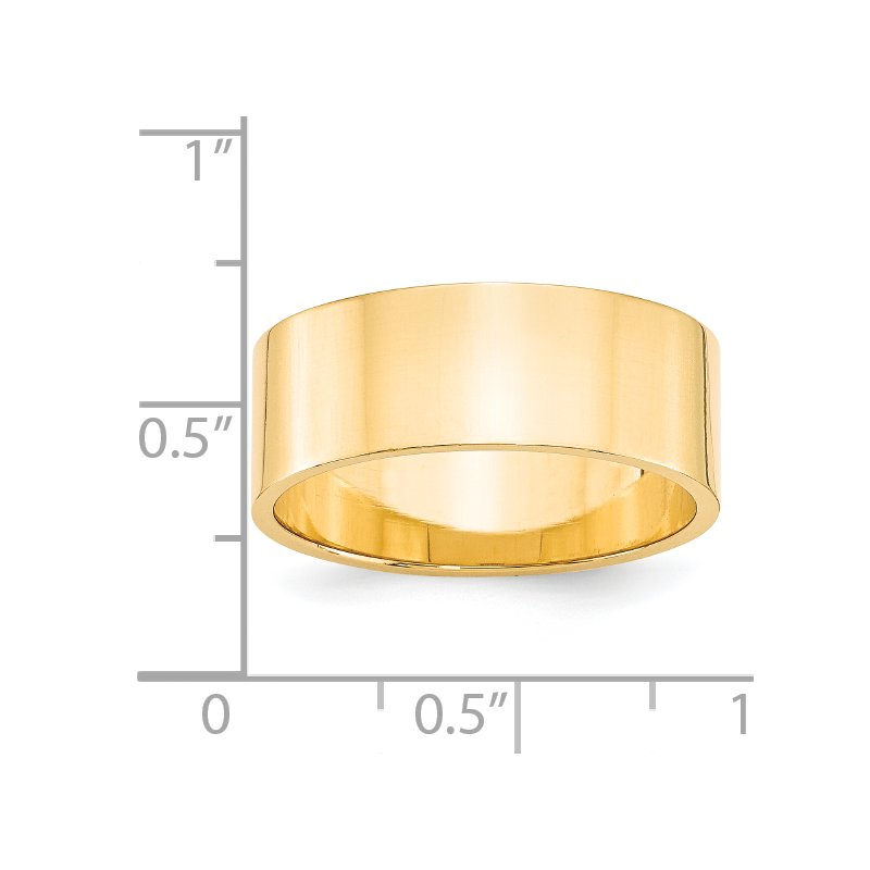 Quality Gold 14KY 8mm LTW Flat Band Size 10