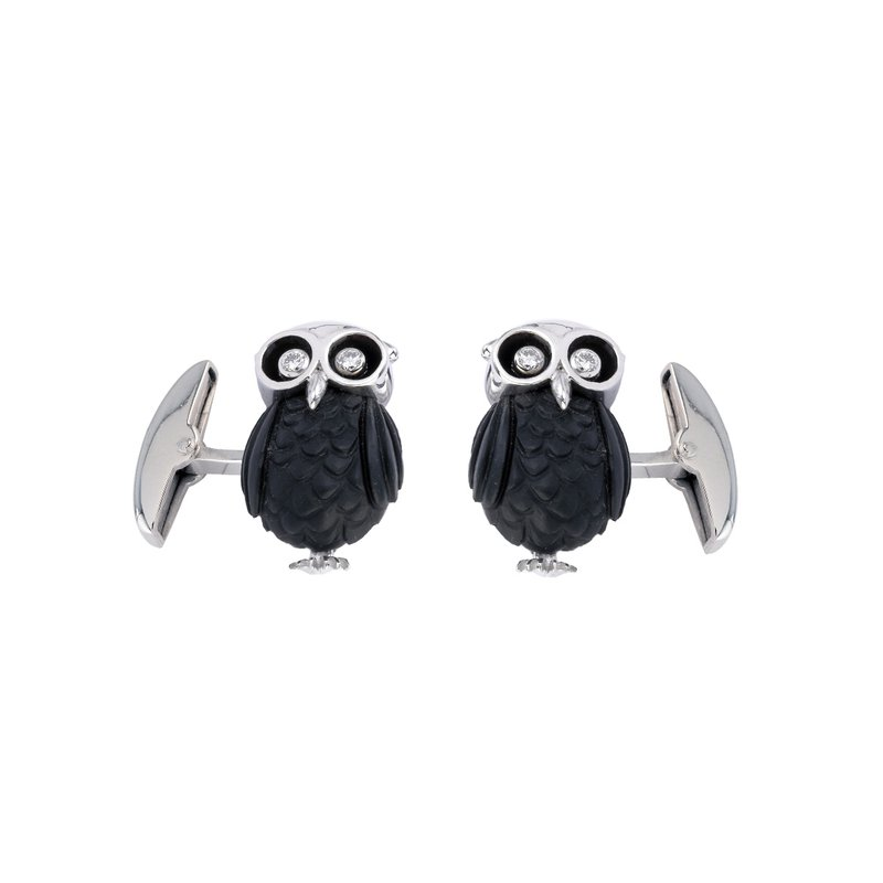 Deakin & Francis 18ct White Gold Owl Cufflinks with Diamond Eyes