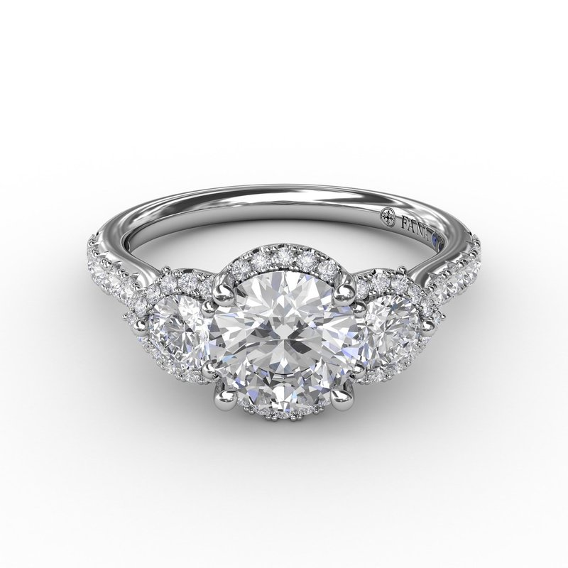 Fana Three-Stone Round Diamond Halo Engagement Ring