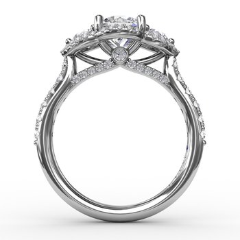 Three-Stone Round Diamond Halo Engagement Ring