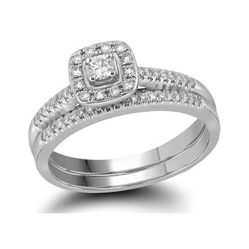 10kt White Gold Womens Princess Diamond Square Halo Bridal Wedding Engagement Ring Band Set 1/3 Cttw