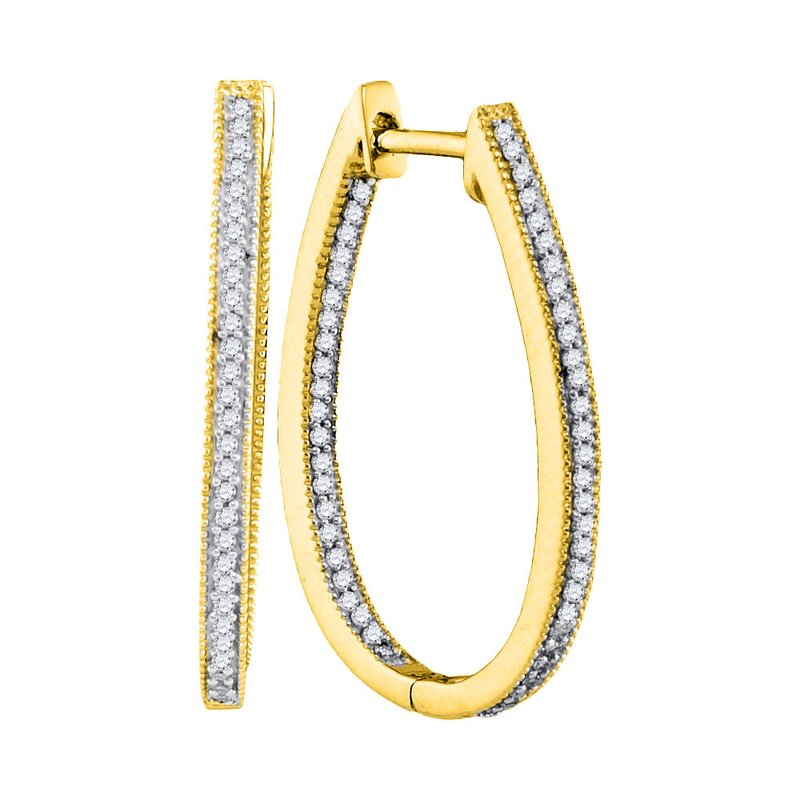 Gold-N-Diamonds, Inc. (Atlanta) 10kt Yellow Gold Womens Round Diamond Oblong Oval Hoop Earrings 1/3 Cttw