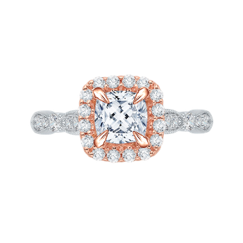 18K White & Pink Gold Carizza Engagement Ring