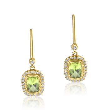 14K Yellow Gold Halo Cushion Peridot and Diamond Leverback Earrings